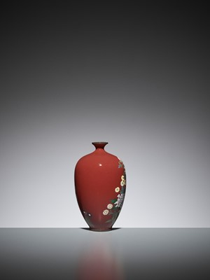 Lot 73 - AN UNUSUAL IRON-RED CLOISONNÉ ENAMEL VASE WITH PEONY AND CHRYSANTHEMUM