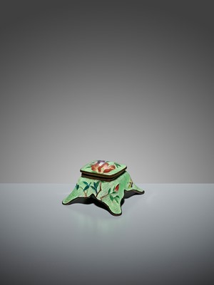 Lot 79 - AN UNUSUAL GINBARI CLOISONNÉ ENAMEL INKWELL AND COVER WITH IRIS AND BUTTERFLIES