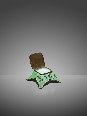 Lot 69 - AN UNUSUAL GINBARI CLOISONNÉ ENAMEL INKWELL AND COVER WITH IRIS AND BUTTERFLIES