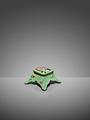 AN UNUSUAL GINBARI CLOISONNÉ ENAMEL INKWELL AND COVER WITH IRIS AND BUTTERFLIES