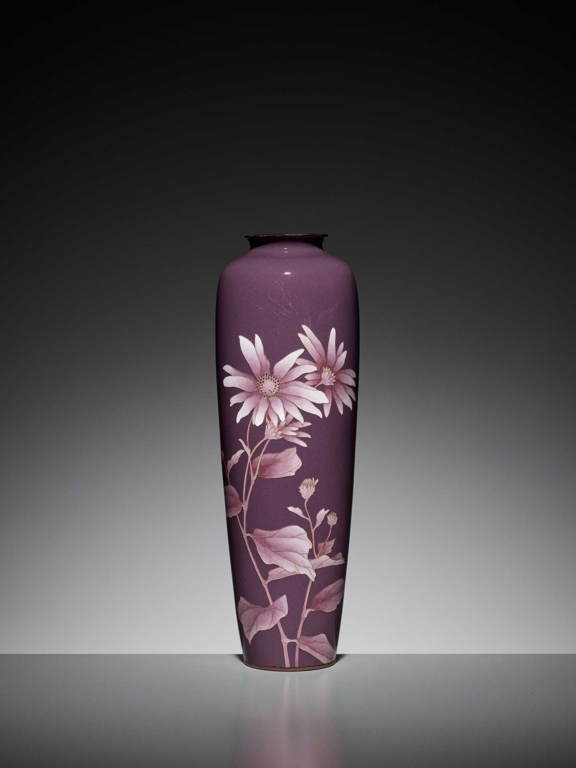 Lot 77 - ANDO: A DEEP PURPLE CLOISONNÉ ENAMEL VASE WITH ASTER