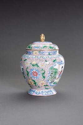 Lot 82 - A CANTON ENAMEL BALUSTER JAR AND COVER
