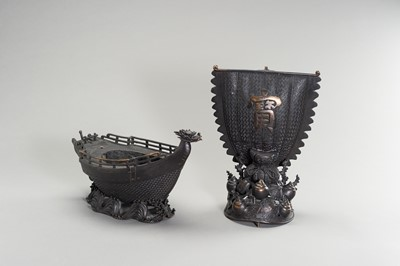 Lot 13 - A LARGE BRONZE CENSER IN THE SHAPE OF A TREASURE SHIP