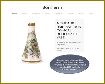 Lot 84 - KINKOZAN: A LARGE PAIR OF SATSUMA EARTHENWARE CONICAL VASES