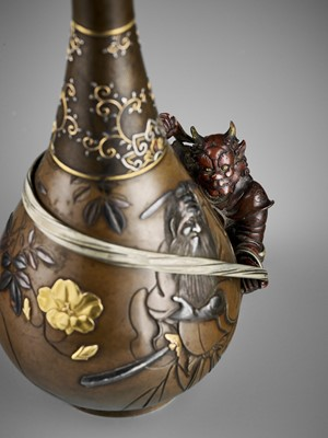 Lot 5 - AN EXCEPTIONAL MIXED METAL 'SHOKI AND ONI' VASE