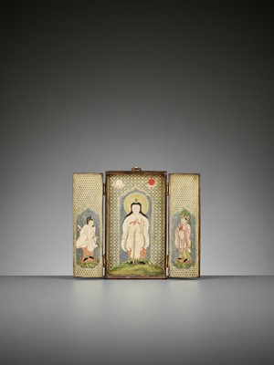 Lot 128 - A MAGNIFICENT DOUBLE-SIDED LACQUERED WOOD ZUSHI (PORTABLE SHRINE) WITH DAINICHI NYORAI AND KISHIJOTEN