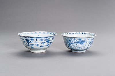 Lot 303 - TWO BLUE AND WHITE PORCELAIN 'FLORAL' BOWLS, MING DYNASTY
