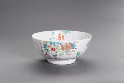 Lot 350 - A GILT AND POLYCHROME ENAMELED 'FLORAL' LOBED BOWL, MID-QING