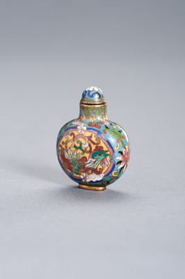 Lot 262 - A CLOISONNÉ ENAMEL 'PHOENIX' SNUFF BOTTLE WITH MATCHING STOPPER, QING DYNASTY