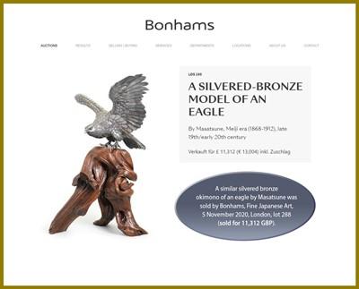 Lot 13 - MASAMITSU: AN IMPRESSIVE SILVERED BRONZE OKIMONO OF AN EAGLE