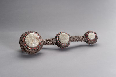 Lot 169 - A MASSIVE AND RETICULATED SILVERED COPPER CEREMONIAL SCEPTER INLAID WITH JADE, TURQUOISE AND CORAL, LATE QING