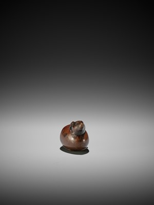 Lot 57 - RANKO: A RARE WOOD NETSUKE OF A RAT EMERGING FROM AN EGG