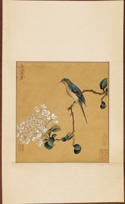 Lot 460 - A FINE HANGING SCROLL PAINTING OF A BIRD