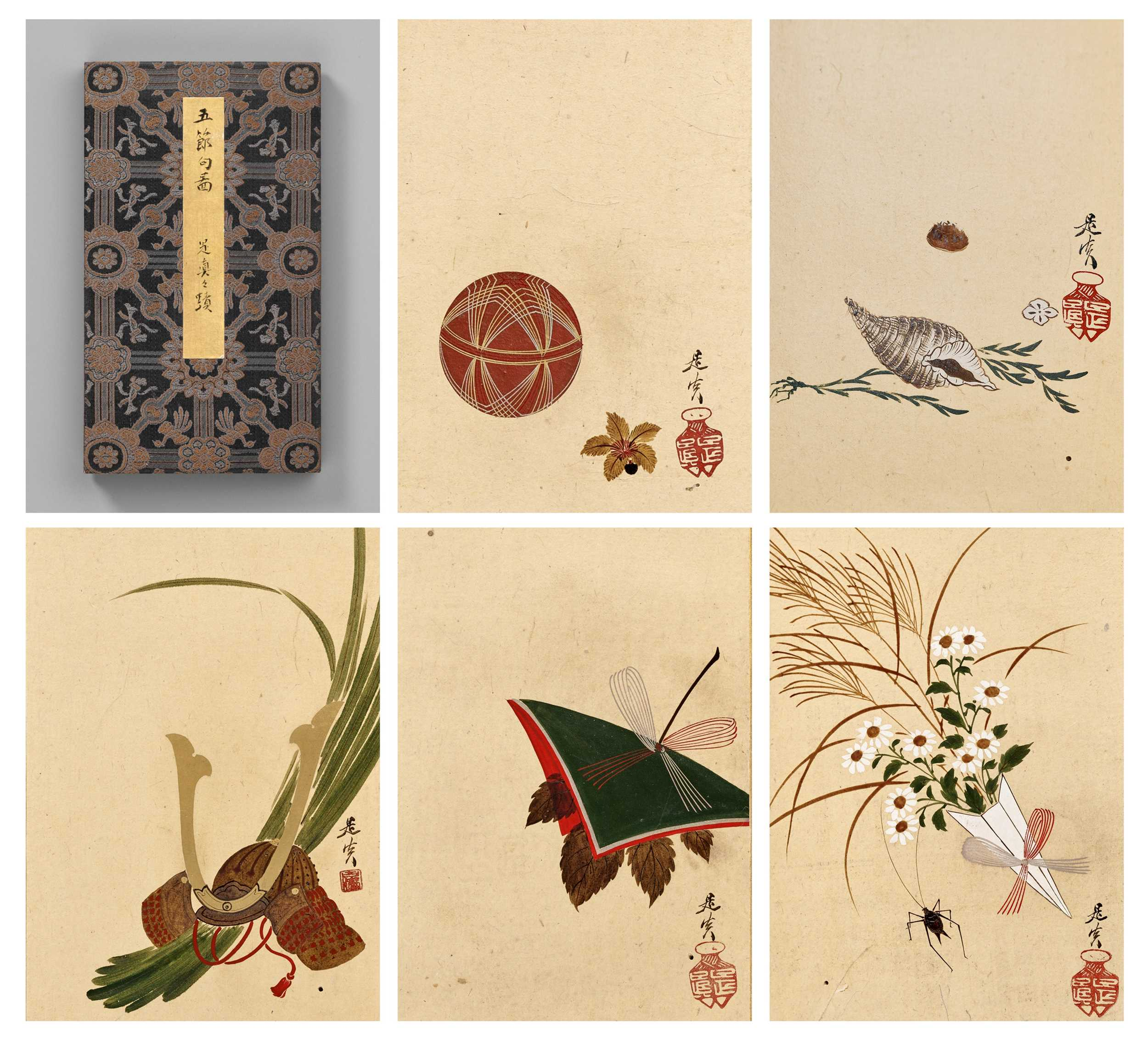 Lot 107 - SHIBATA ZESHIN: AN IMPORTANT ALBUM OF FIVE LACQUER PAINTINGS DEPICTING THE GOSEKKU (FIVE CHIEF FESTIVALS OF JAPAN)