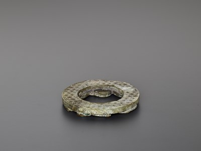 A HAN JADE RING ORNAMENT WITH COILED CHILONG