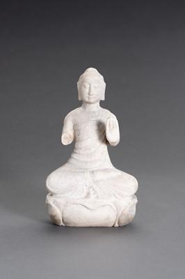 Lot 61 - A CHINESE ALABASTER BUDDHA FIGURE