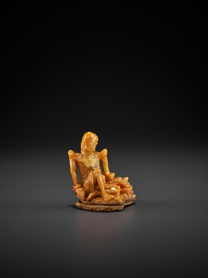 Lot 49 - A FINE TIANHUANG FIGURE OF AN EMACIATED LUOHAN, MID-QING