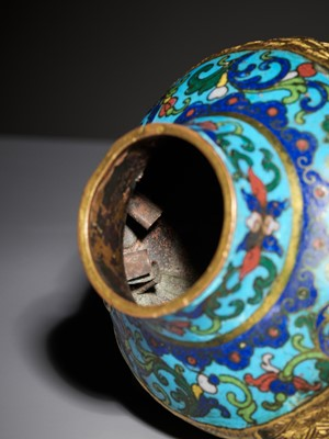 Lot 8 - A RARE CLOISONNÉ ENAMEL 'SASH-TIED' BALUSTER VASE, ATTRIBUTED TO THE IMPERIAL WORKSHOPS, QIANLONG PERIOD