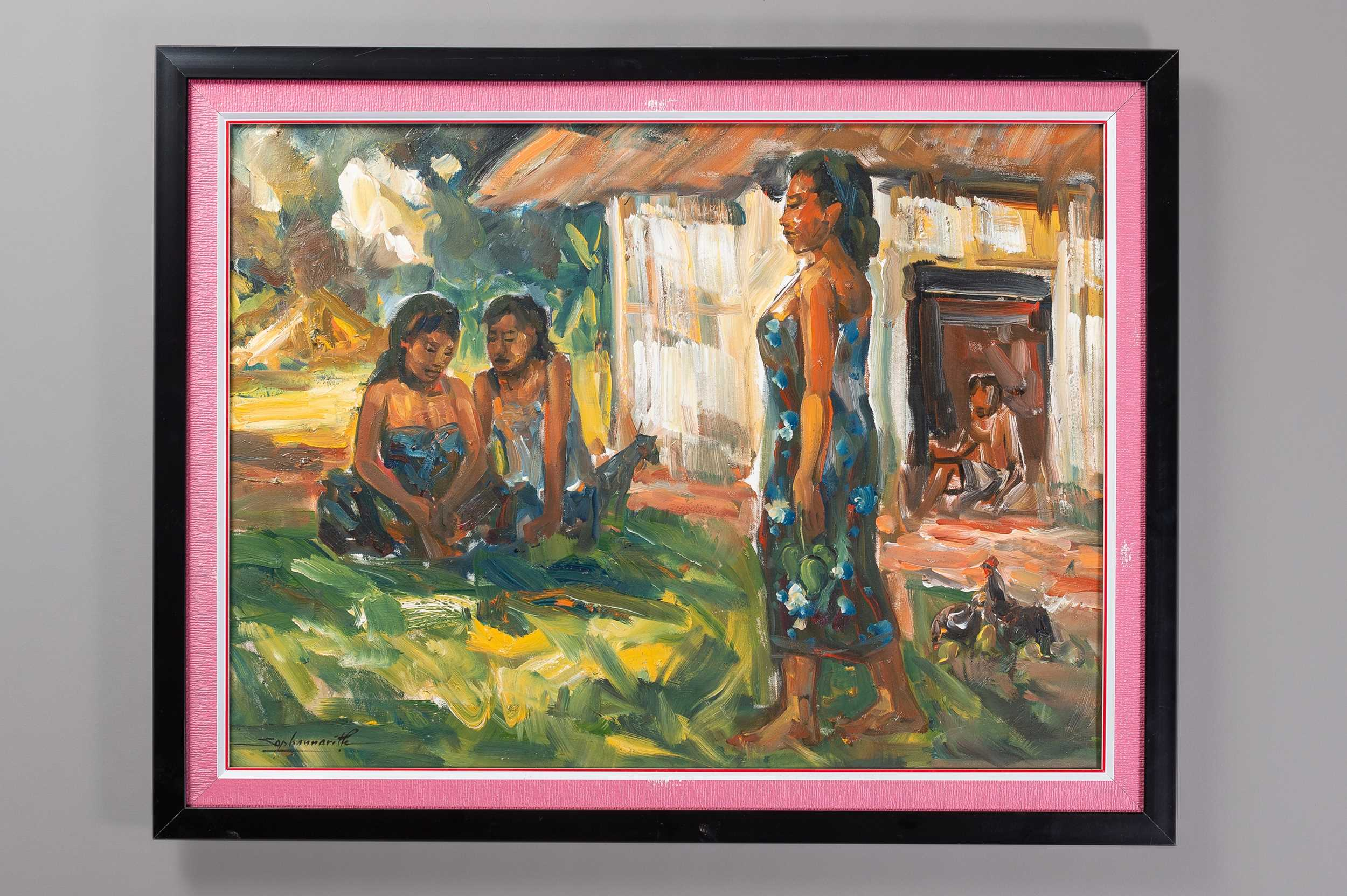 """´YOUNG LADIES IN THE COUNTRYSIDE"""" BY SOPHANNARITH (BORN 1960)"""