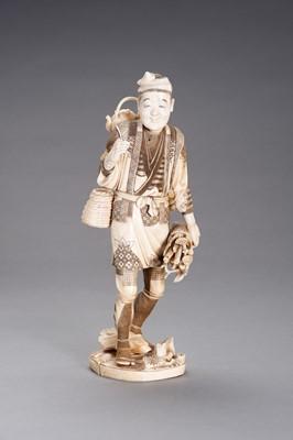 Lot 254 - AN IVORY AND BONE OKIMONO OF A WOOD GATHERER