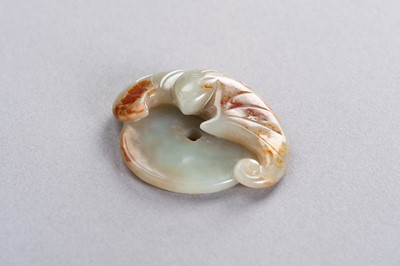 Lot 177 - A CELADON AND RUSSET JADE 'BAT AND COIN' PENDANT, LATE QING