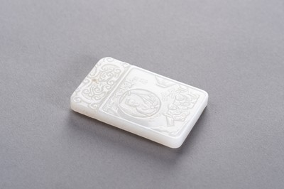 Lot 189 - A WHITE JADE PLAQUE WITH GARDEN SCENE