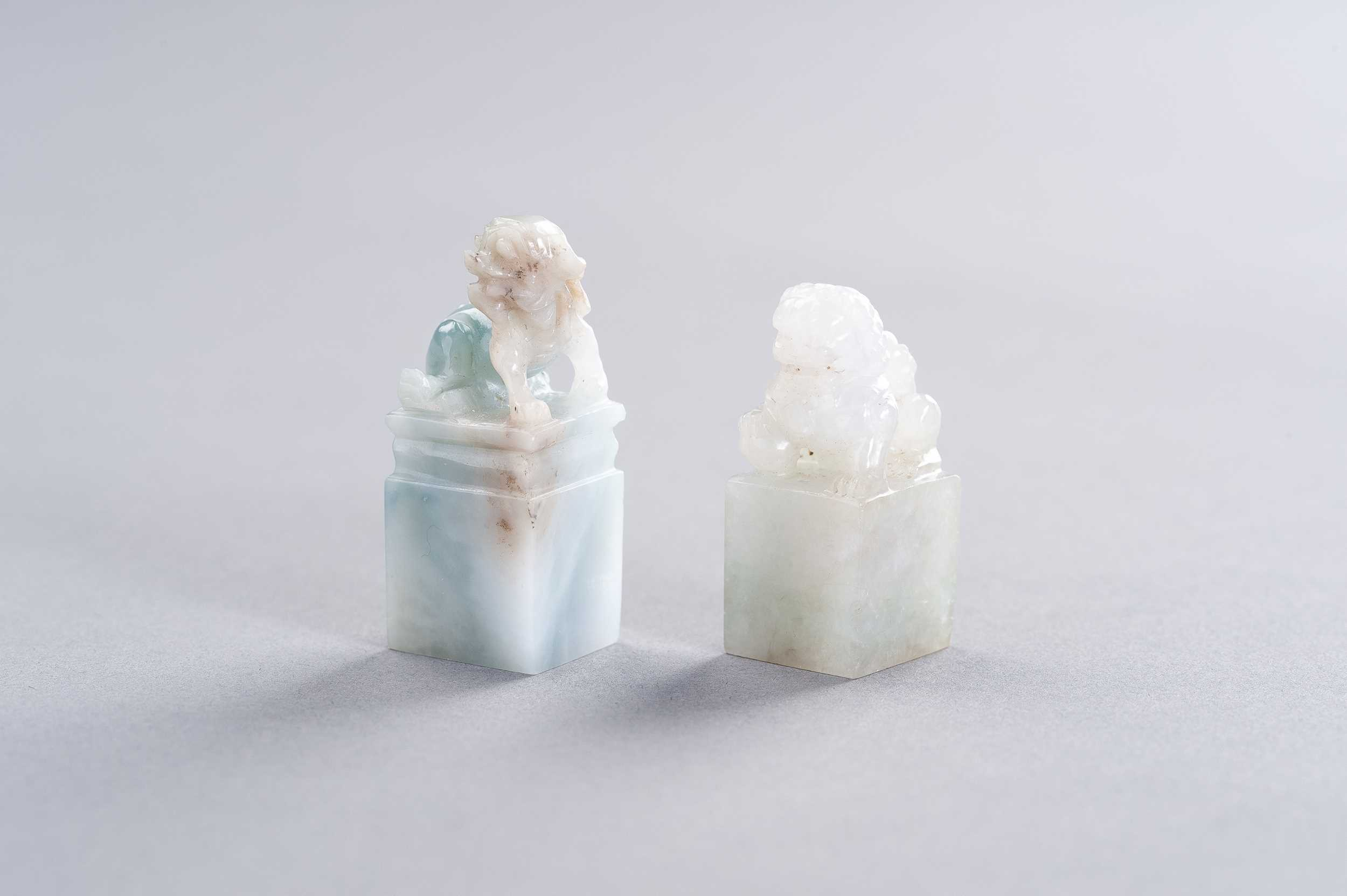 A JADEITE AND A QUARTZ SEAL WITH BUDDHIST LIONS, REPUBLIC