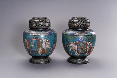Lot 72 - A LARGE PAIR OF CLOISONNÉ VASES AND COVERS