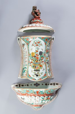 Lot 379 - A FAMILLE ROSE PORCELAIN CISTERN WITH COVER AND BASIN