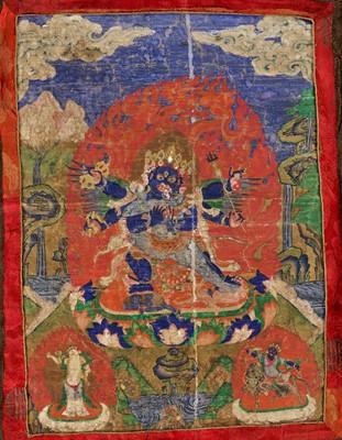 Lot 448 - A THANGKA OF GURU DRAGPO, 17TH-18TH CENTURY