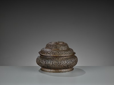 Lot 14 - AN OPENWORK COPPER-REPOUSSÉ CENSER AND COVER, LATE MING TO EARLY QING