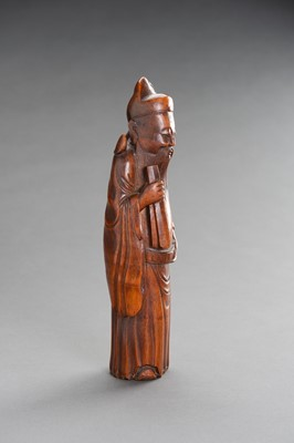 Lot 134 - A CARVED BAMBOO FIGURE OF AN IMMORTAL