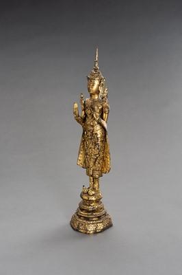 A BRONZE FIGURE OF A STANDING BUDDHA, RATTANAKOSIN