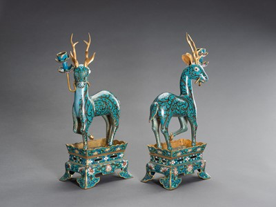 Lot 77 - A PAIR OF CLOISONNÉ DEER CANDLE HOLDERS