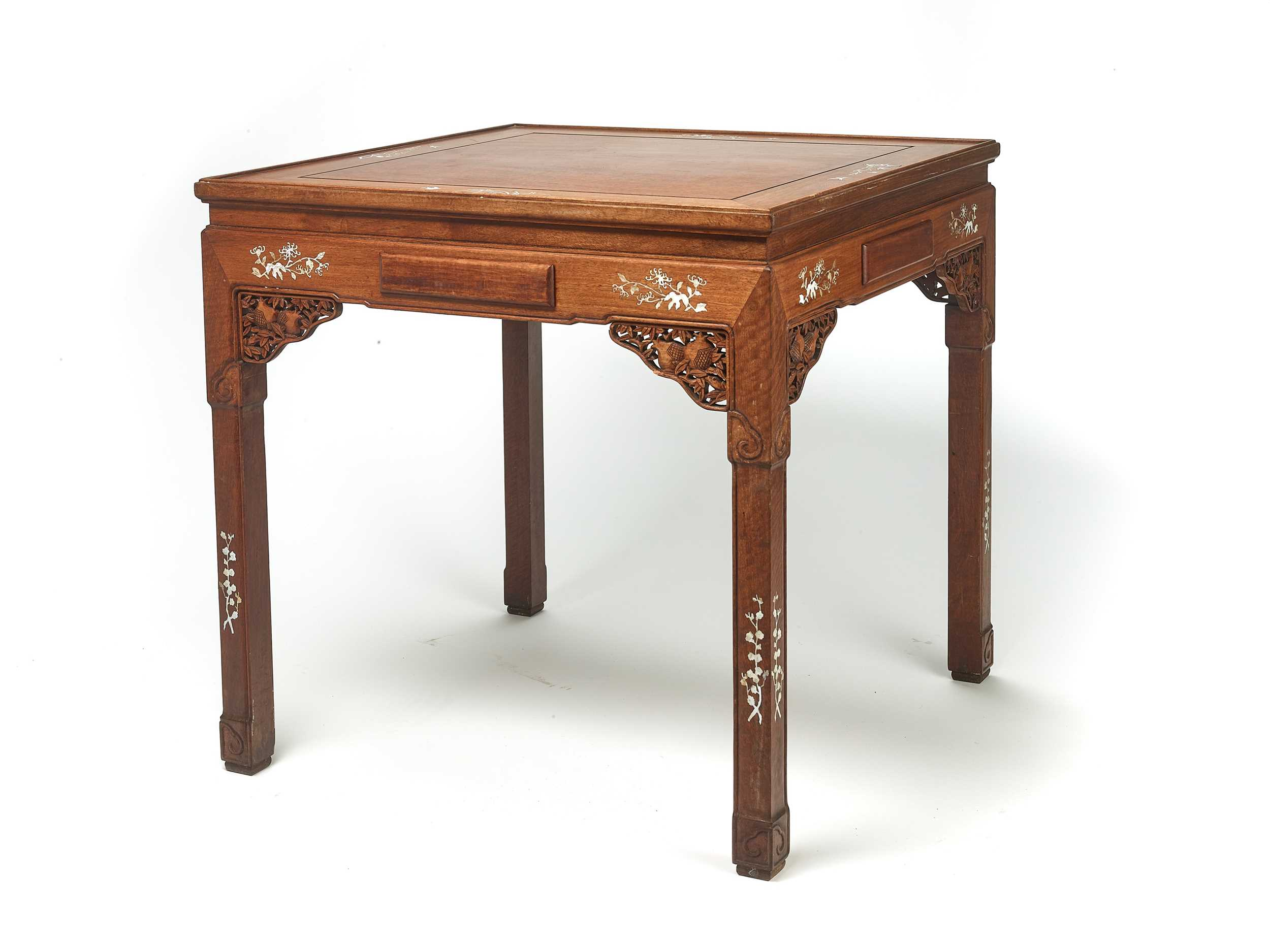 Lot 148 - AN INLAID CHINESE SQUARE TABLE, LATE QING DYNASTY