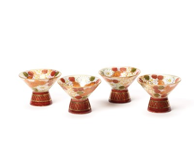 Lot 187 - TWO SMALL VASES, SIGNED SHUSAN, AND FOUR SAKE CUPS WITH FLORAL DECORATIONS
