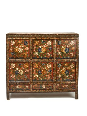 Lot 145 - A RARE AND LARGE TIBETAN LACQUERED HARDWOOD CABINET, 19TH CENTURY