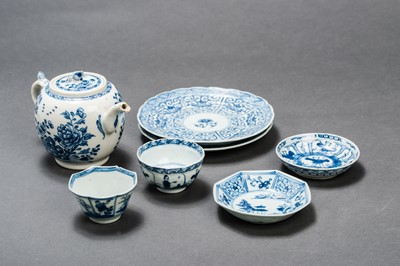 Lot 387 - A SMALL TEAPOT WITH GARDEN SCENE, TWO SMALL BOWLS WITH SAUCERS AND TWO DESSERT PLATES