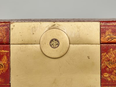 Lot 143 - A BRASS FITTED PIG SKIN LACQUER BOX WITH VILLAGE SCENES, QING DYNASTY