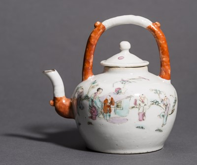 Lot 361 - A SMALL PORCELAIN POT WITH LADIES, SERVANTS AND BOYS