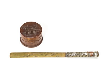 Lot 57 - A WOOD BOX AND COVER AND A SIGNED LETTER OPENER