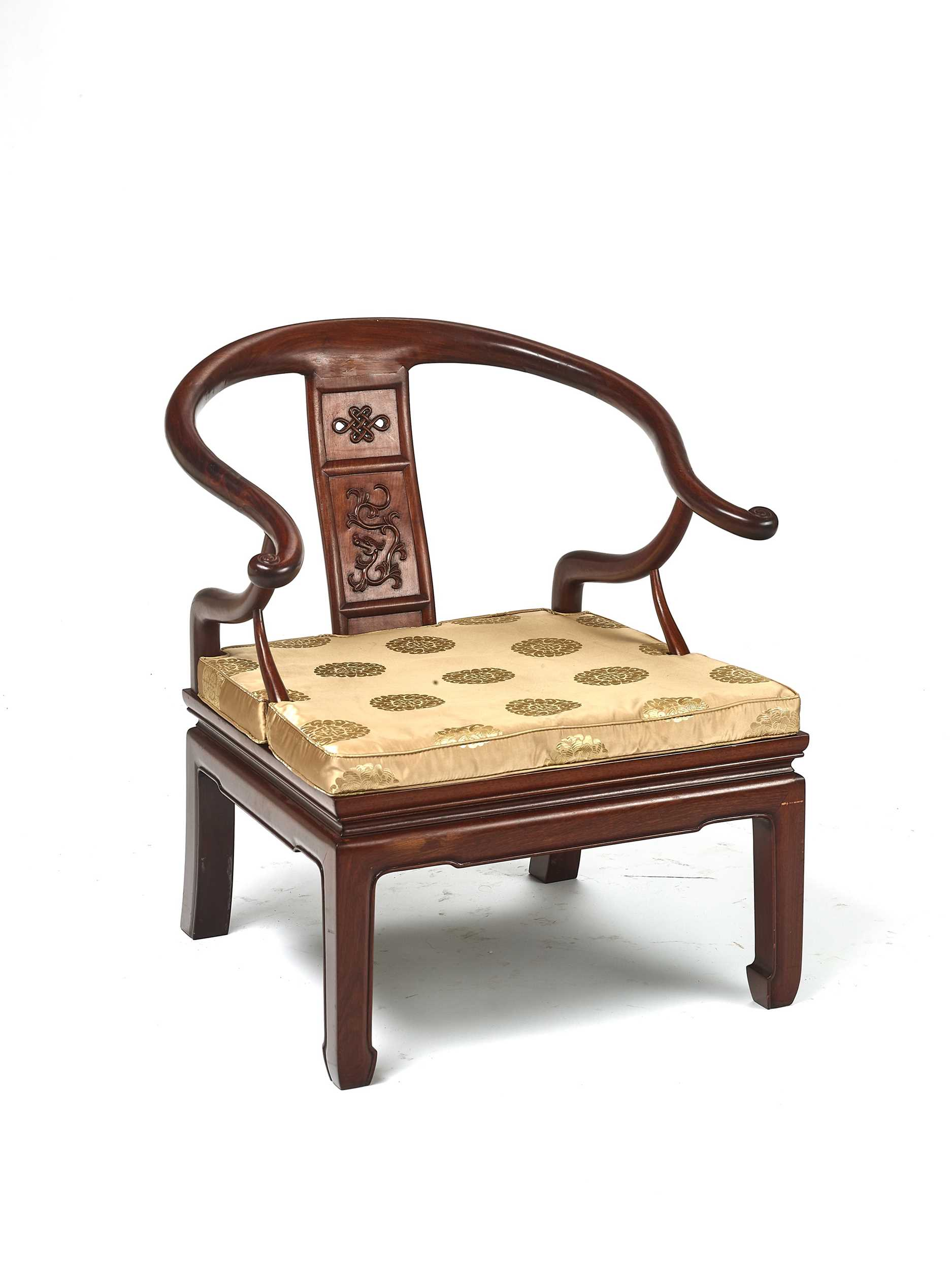 Lot 147 - A CHINESE 'HORSESHOE' LOW CHAIR, LATE QING DYNASTY