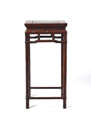 Lot 151 - A CHINESE HARDWOOD 'BAMBOO' HIGH TABLE, LATE QING DYNASTY