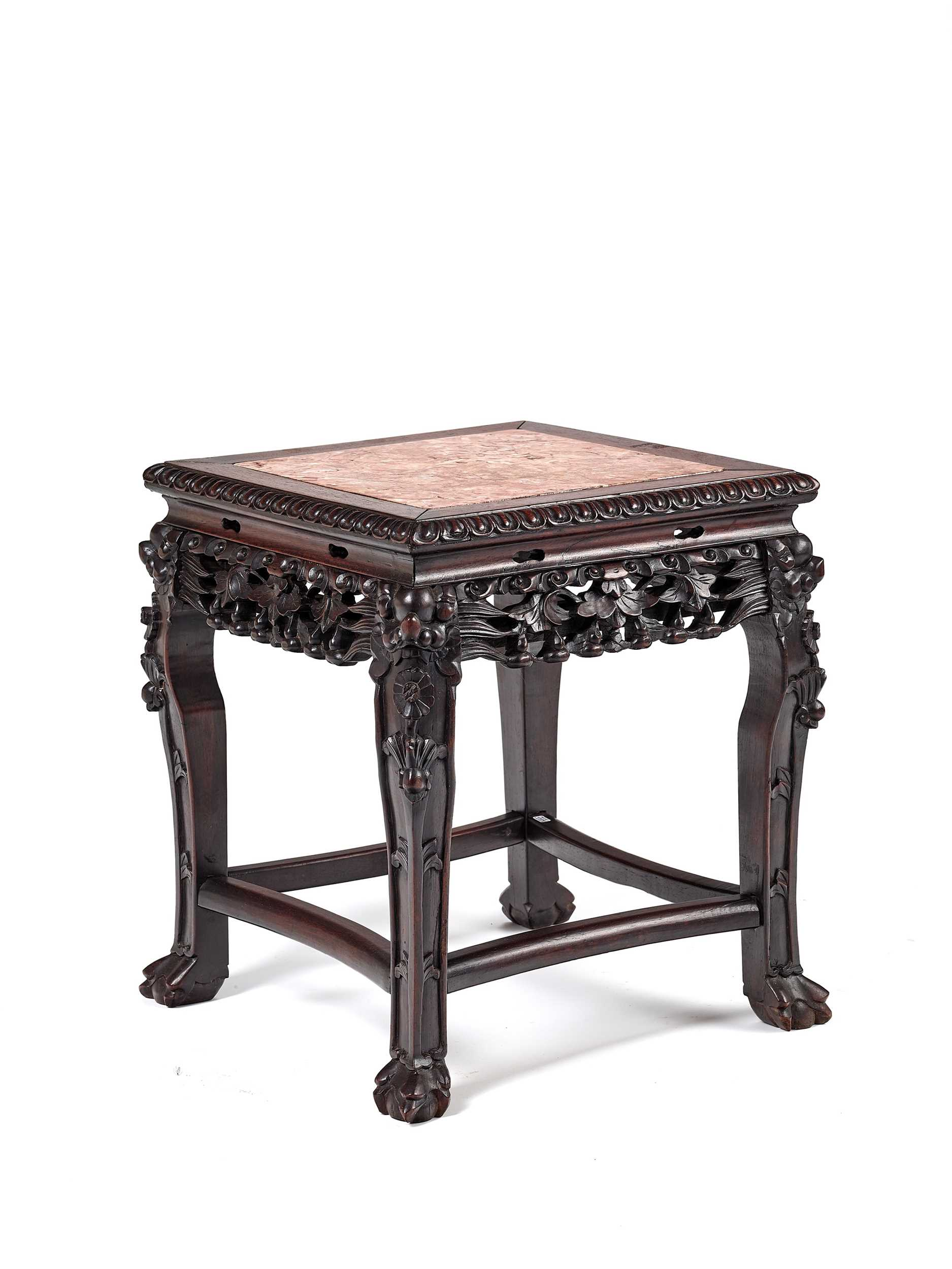 Lot 150 - A CHINESE MARBLE AND HARDWOOD SIDE TABLE, LATE QING DYNASTY