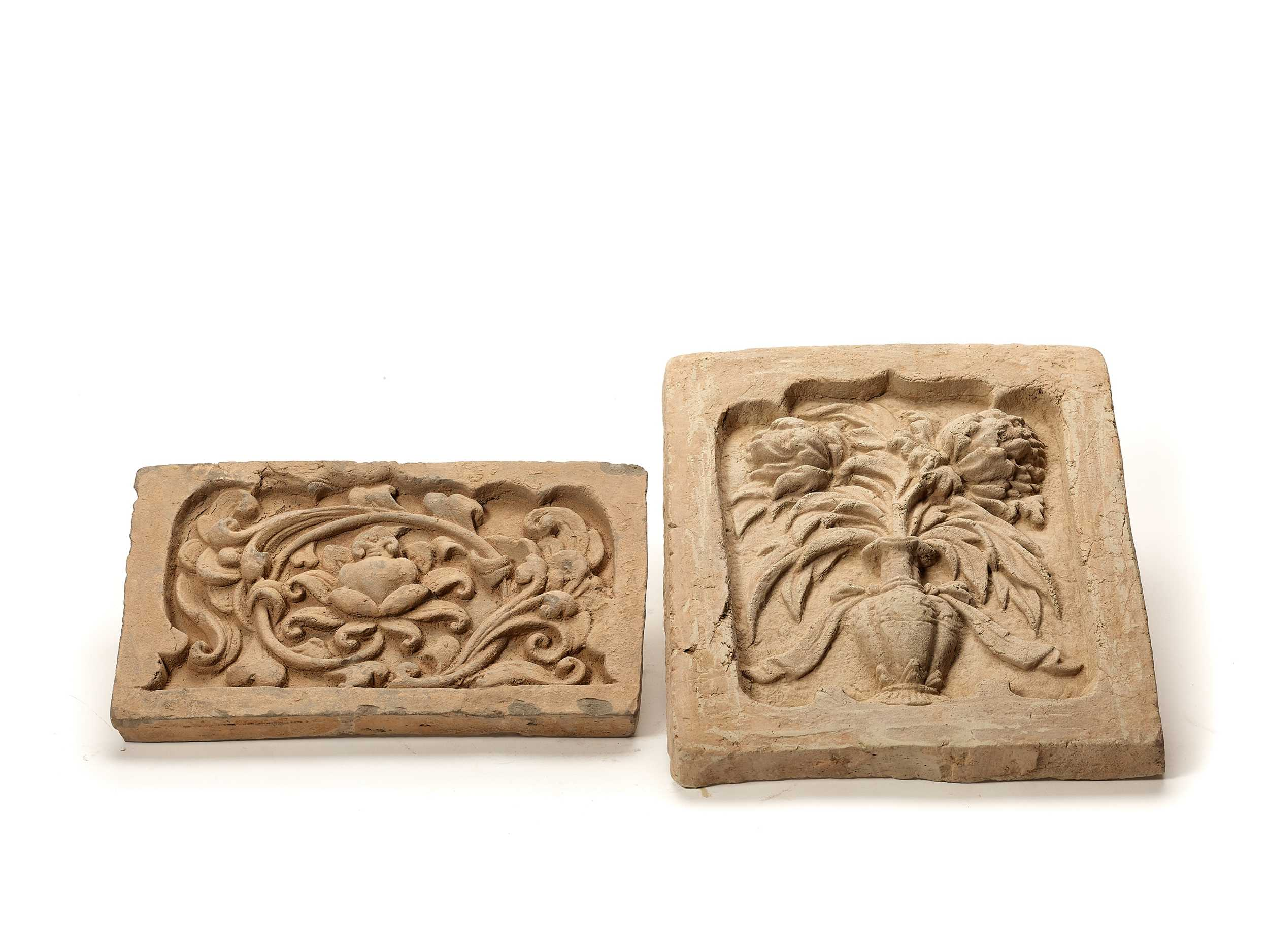 Lot 277 - TWO TL-TESTED CHINESE CERAMIC WALL TILES, TANG DYNASTY