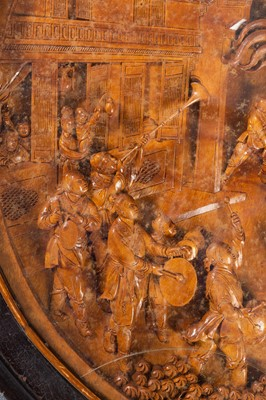 Lot 138 - A LARGE AND IMPRESSIVE WOOD CARVING OF THE DRAGON DANCE