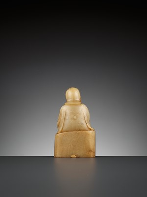 Lot 50 - A SOAPSTONE FIGURE OF A PENSIVE IMMORTAL, QING DYNASTY