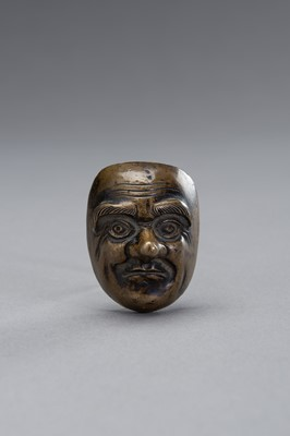 Lot 14 - A BRONZE SCROLL WEIGHT IN THE SHAPE OF A NOH MASK