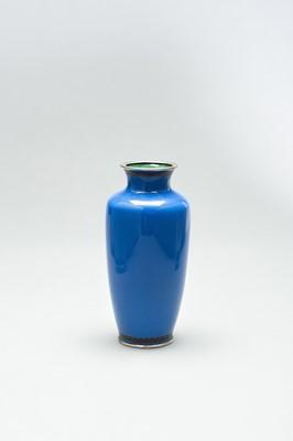 Lot 64 - A BLUE CLOISONNÉ ENAMEL VASE WITH  PEONIES