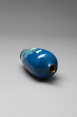 Lot 67 - A BLUE CLOISONNÉ ENAMEL VASE